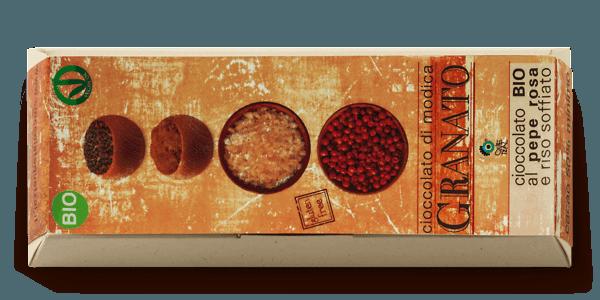 Cioccolato Quetzal bio al pepe rosa con riso soffiato
