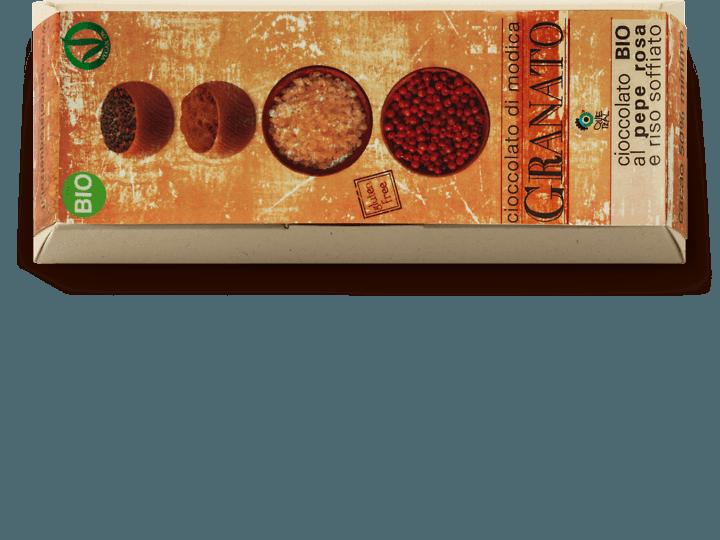 Cioccolato di Modica bio al pepe rosa con riso soffiato