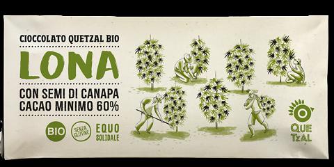 Cioccolato Quetzal con semi di canapa bio LONA 60% cacao