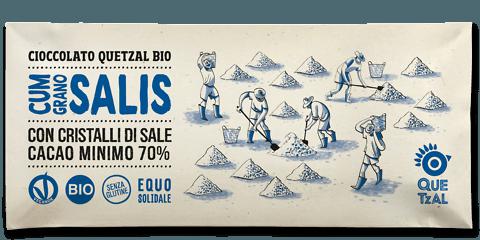 "Cioccolato Quetzal bio al sale marino, vegano, 60 gr ""Cum Grano Salis"""
