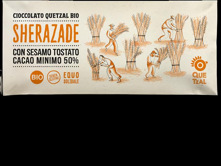 Sherazade, Cioccolata Quetzal con sesamo e arancia bio, 60 gr